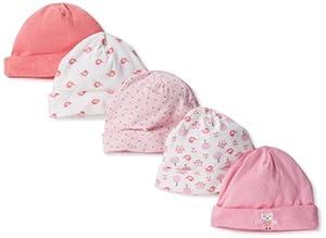 Gerber Baby-Girls Newborn 5 Pack Owl Cap, Owl Pink, 0-6 Months