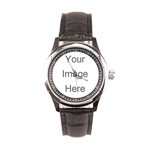 Custom Personalized Men's Black Leather Band Watch Design Photo or Message Watch (Custom Photo Watch compare prices)