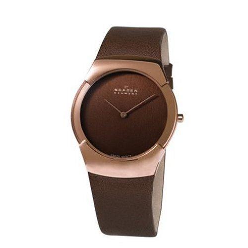Skagen Men's 582XLRLM Swiss Movement Rose-tone Steel Brown Leather Watch