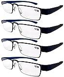 Eyekepper - Lot de 4 Lunettes de lecture - Ultra-leger - Fashion tendance - Puissance optique - Existe en 3 couleurs - Lunettes de vue hommes femmes