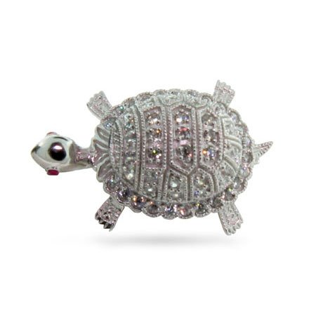 Sterling Silver Diamond Cubic Zirconia Turtle Pin