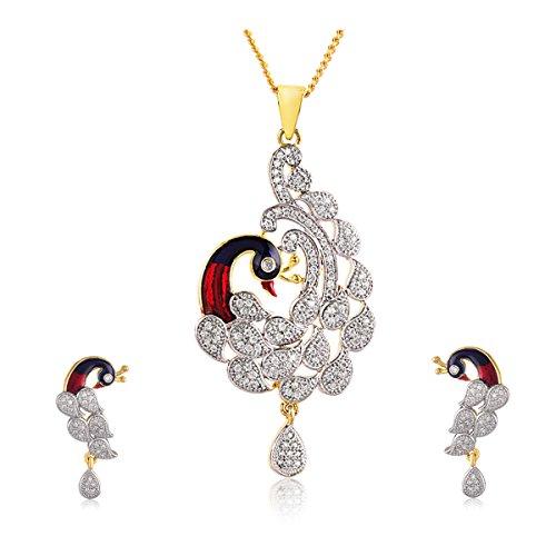 swasti-jewels-peacock-shaped-cz-zircon-fashion-jewellery-set-pendant-earrings-for-women-