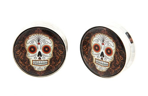 "7/8"" 22Mm 316L Stainless Steel Stash Brown Day Of The Dead Sugar Skull Dia De Los Muertos Internally Threaded Logo Logo Ear Gauges Plugs (Sold By Pair)"