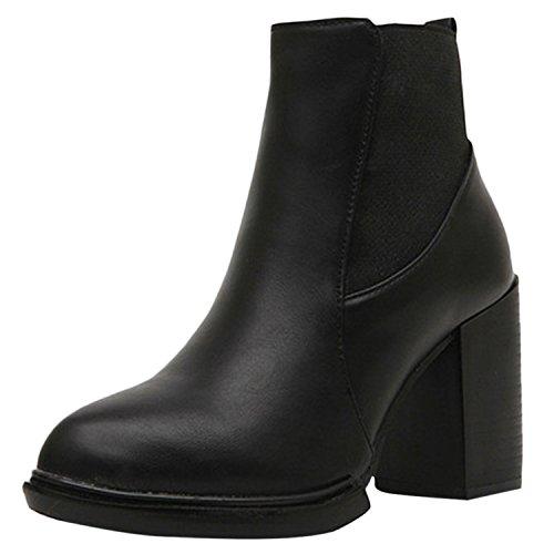 Oasap Femme Boots Pointue A Cheville Talons Bloc PU