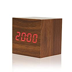 1 Stop Wooden Square Shape (6 cm X 6 cm) Digital Electronic Alarm Table Desk Clock With Temperature + Date + Time Display XY - 022 (Brown)
