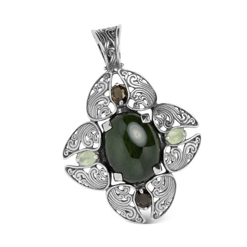Southwest Spirit Sterling Silver Nephrite Jade 4-Leaf Pendant Enhancer