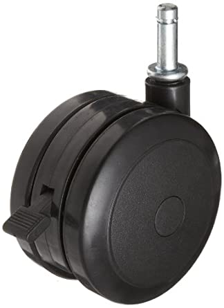 "RWM Casters TwinWheel Stem Caster, Swivel with Brake, Grip Ring Stem, Nylon Wheel, 220 lbs Capacity, 4"" Wheel Dia, 17/20"" Wheel Width, 4-1/4"" Mount Height, 7/16"" Stem Dia, 1"" Stem Height"