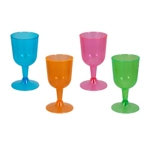 Party Essentials Hard Plastic Two Piece 5-1/2-Ounce Wine Glasses, Assorted Neon, 20 Count