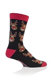 1 Pair Mens Festive Feet Novelty Christmas Rudolf The Reindeer Socks 6-11 UK 39-45 EUR Black