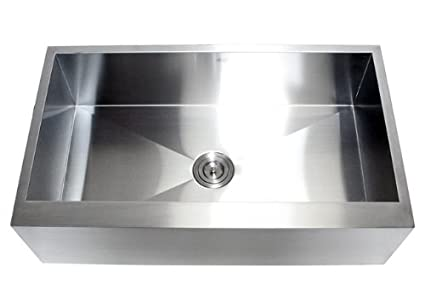 36 Inch Stainless Steel Single Bowl Flat Front Farmhouse Apron Kitchen Sink 16 Gauge