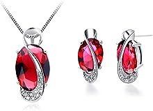 FLORAY Mujer Elegante Rojo Ovalada Creado Rubí Colgante Collare y Pendientes Juegos de joyas.