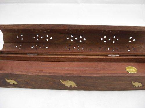 Hecho a mano caja de madera Goethnic quemador de incienso y decorativo Festival budista