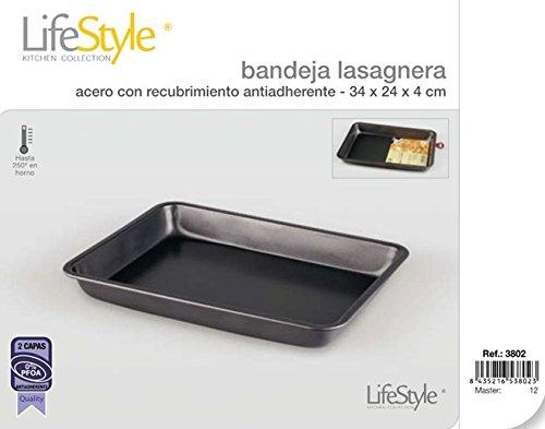 Life Style - Plat à Gratins/Lasagnes - Revêtement Antiadhésive - 34 x 24 x 4 cm