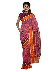 Unnati Silks Women pink Bengal sico saree
