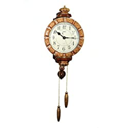 Fabulous Antique Decorative 24X15 Polyresin Hand-Painted Wall Clock w/Tassels - Brown & Gold