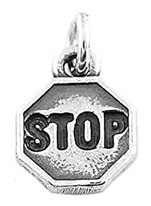 Sterling Silver One Sided Stop Sign Charm