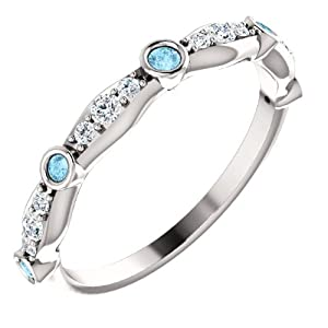 Platinum Blue and White Diamond Wedding/Anniversary Band