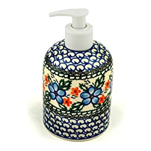 Polmedia Polish Pottery 5-inch Stoneware Soap Dispenser H4495B Hand Painted from Ceramika Artystyczna in Boleslawiec Poland. Shape S264A(573) Pattern P3111A(906)