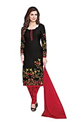 Ishin Synthetics French Crepe Black & Red Printed Unstitched Dress Material