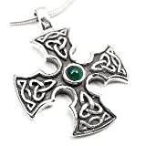Sterling Silver Green Agate Celtic Knot Iron Cross Pendant ~ Silver Insanity