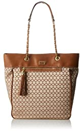 Nine West Mini 9S Sateen Tote Shoulder Bag, Tobacco Brown, One Size