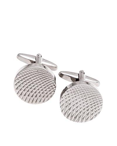 Bey-Berk Textured Round Cufflinks, Silver