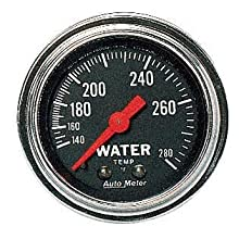 "Auto Meter 2431 Traditional Chrome 2-1/16"" Mechanical Water Temperature Gauge with 6' Tubing"