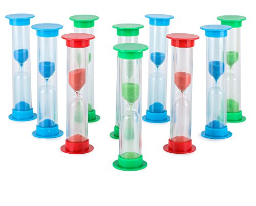 Sand Timer Set Large 10pcs Pack (1 Minute) - Colorful Set of One Minute Hour Glasses for Kids - Color: Blue, Green, Red (Hourglass Timers compare prices)
