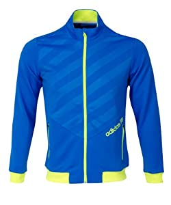 Adidas Fashion Performance Full Zip 3 Stripes Layering Jacket in Galaxy/Highlighter XX Large