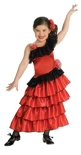 Child'S Red And Black Spanish Princess Costume, Large front-870220