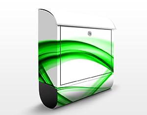 Cassette postali Design Green Element 39x46x13cm cassette postali acciaio inox, buca lettere, cassette posta, astratto, linee, curve, onde