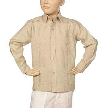Boys linen guayabera shirt in natural