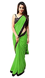 Women's Exclusive Green Georgette Plain Sari with Blouse