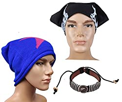 Sushito Blue Woolen Winter Protect Cap With Stylish Headwrap & Wrist Band