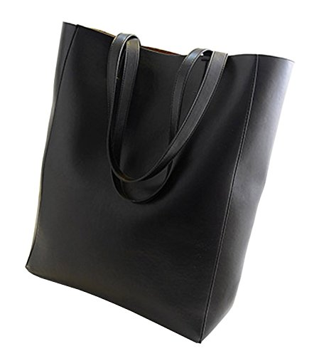 Miss Ying Women Large Shopper Simple Tote Style Black Pu Leather Satchel Tote Handbags