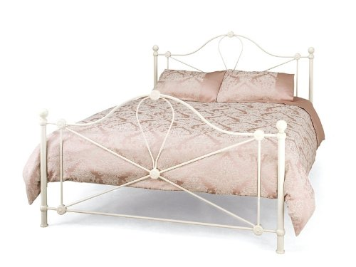 WorldStores Lyon Metal Bed Frame - 4FT Small Double Bed Frame - Classic Metallic Curvatures - Traditional Ball Topped Posts - Ivory Finish
