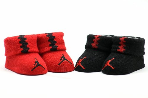 Jordan Baby 2 Pack Newborn Baby Booties Red, 0-6 Months