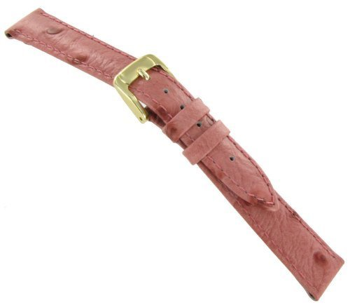 12mm Speidel Water Resistant Ostrich Grain Genuine Leather Pink Watch Band Regular