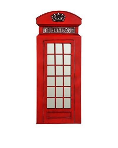 Metal Loft Cabina De Teléfono Art Rojo