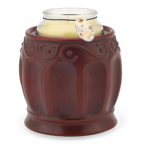 Candle Warmers Ceramic Candle Warmer Crock, Roman Red