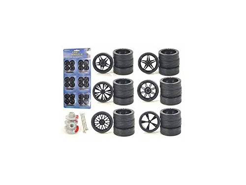 Diecast 2003B Custom Wheels for 1-24 Scale Cars & Trucks 24 Piece Wheels & Tires Set (1 24 Custom Wheels compare prices)