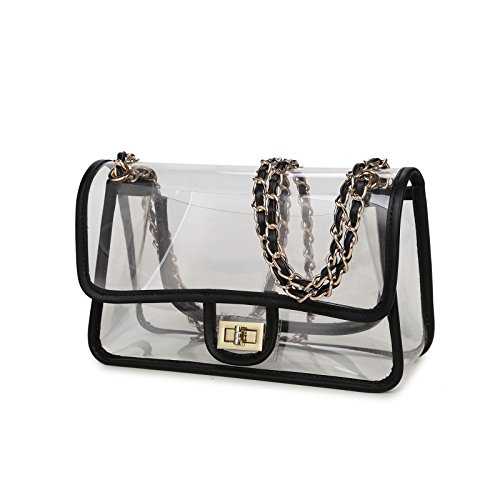 Lam Gallery Transparent PVC Vinyl Plastic Bag with Turn Lock NFL Stadium Approved Clear Purse Bags Football Game Compliant Clear Bag See Thru Jelly Handbags Shoulder Crossbody Bag with Black Trim (Black Jelly Bags Handbags compare prices)