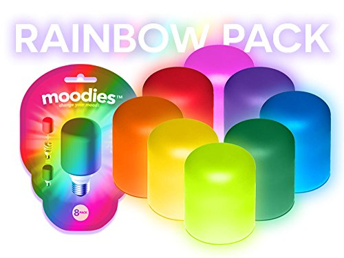 Moodies Rainbow 8 Pack of Colorful, Heat-safe Silicone Light Bulb Cover for Decorating (Light Bulb Cover compare prices)