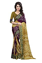 Yellow And Parpal Heavy Bandhani Saree