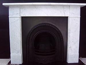 Classic Victorian Plain Italian Carrara Marble Fireplace Surround