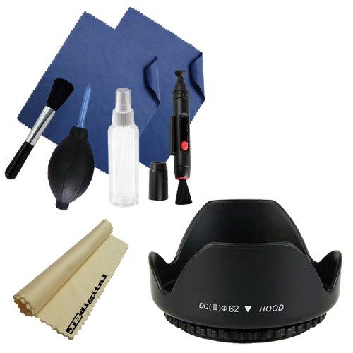 62Mm Tulip Flower Lens Hood + Professional Cleaning Kit + Jb Digital Microfiber Cleaning Cloth For Nikon D7100, D7000, D5200, D5100, D3200, D3100, D800, D700, D600, D300S, D90 Dslr Camera With Nikon 28-105Mm F/3.5-4.5D Af Nikkor, 28-200Mm F/3.5-5.6D If Af