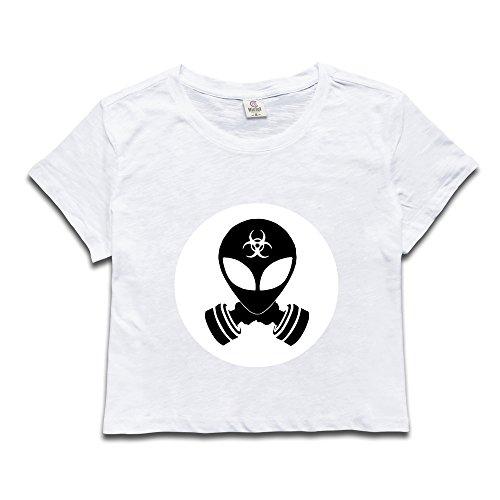 HmkoLo Women's Alien Short Sleeve Crop Top Shirts White