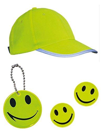 Kleines Set, bestehend aus: 1 x Sicherheits - Kappe + 2 x Sicherheitsaufkleber SMILE + 1 x Sicherheitsanhänger für Schulranzen / Taschen usw - reflektierend - signalgelb