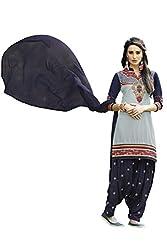 Naaidaakho Gray And Navy Blue Patiyala Dress Material