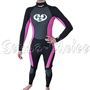 Buy Maui & Sons 3 2 mm Girl's Neoprene Long Sleeve Surfing Suit Black Pink Wetsuit by Maui & Sons